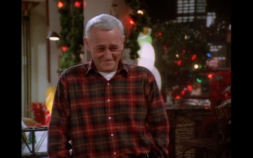Martin Crane beams at Frasier after getting him the outlaw laser robo geek.