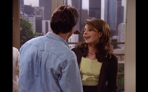 Daphne Moon (Jane Leeves) flirts with Frasier's contractor, Joe.