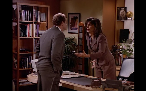 Kate Costas and Frasier Crane argue in Kate's office.
